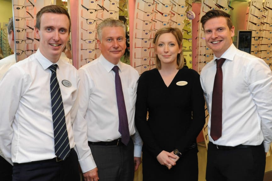 Official opening of the new look Specsavers store in Hereford, from left: Family members Practice Manager Kieran Smith, Store Director Nialle Smith, Dispensing Optician Rebecca Smith, Store Director Darren Smith.