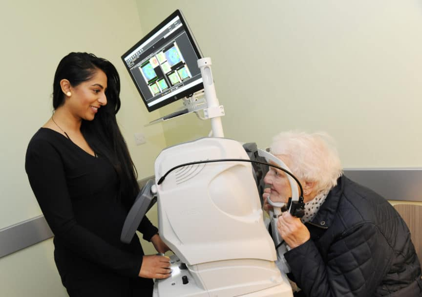 A patient has an OCT scan at Specsavers Mere Green Sutton Coldfield-May17
