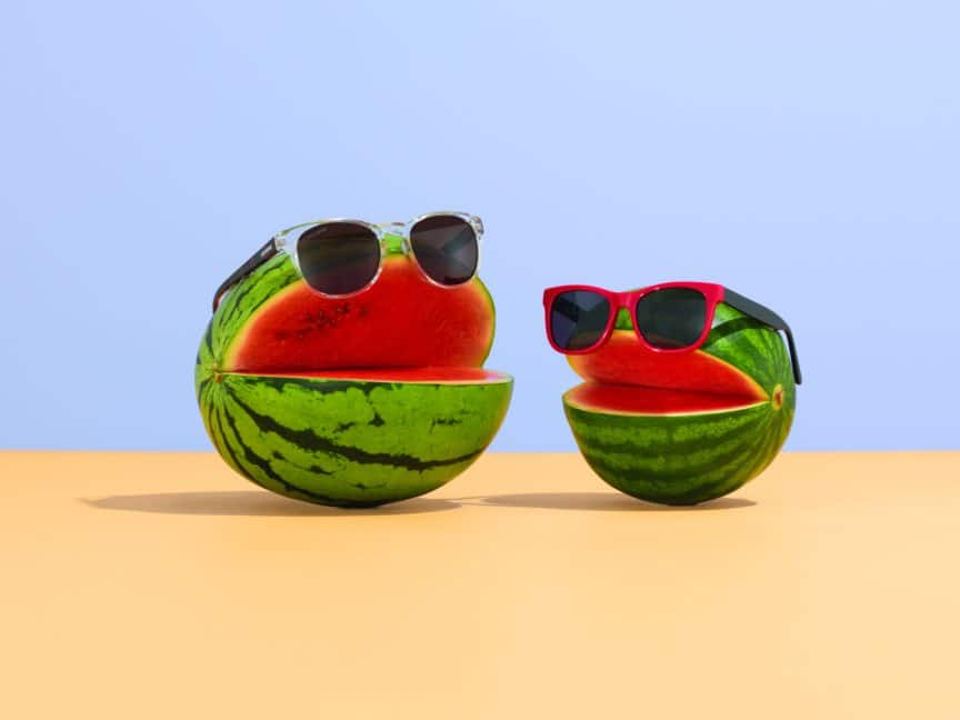 Watermelons with sunglasses - UV exposure