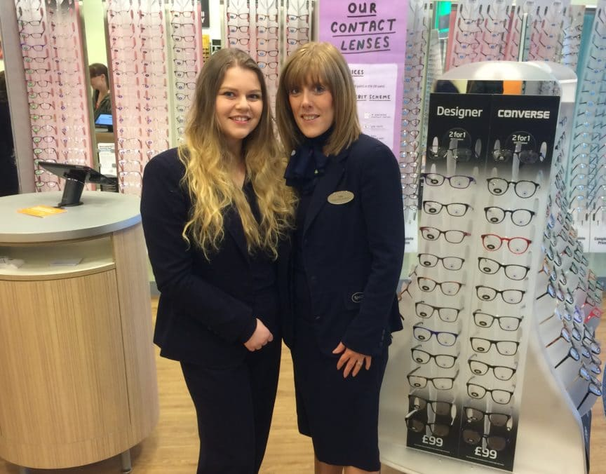 apprentice optical assistant Chloe with dispensing assistant Sally- Cwbran Specsavers