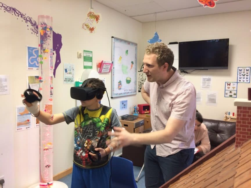 VR headsets given to childrens hospital Galashiels Scotland 2