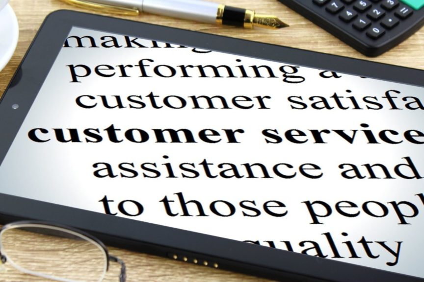 customer service tablet and glasses