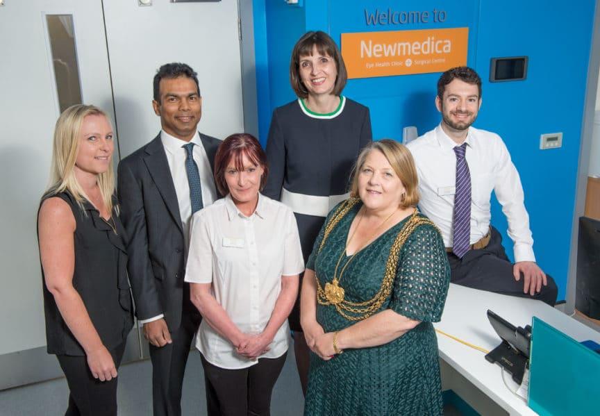 Newmedica Leeds - Louise Brown, Aldrin Khan, Joanne Hough, Jennifer Lindsay, Lord Mayor Councillor Jane Dowson and Noel Staunton