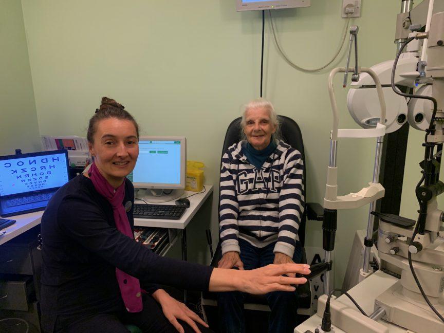 Optometrist Sarah Marshall and customer with glaucoma