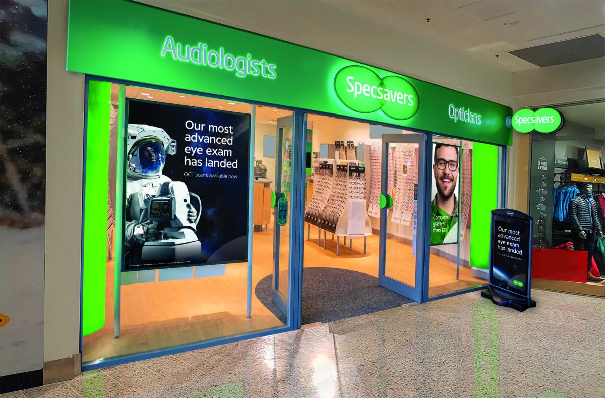 OCT advertising in Specsavers window
