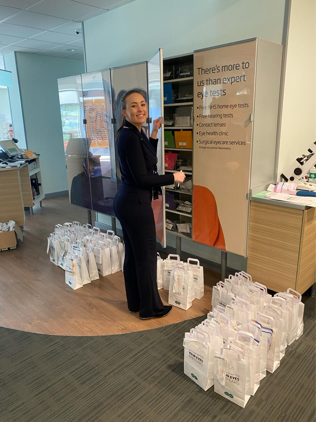 Specsavers Worcester - Emily Jones packing deliveries